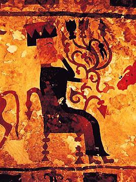 왕묘에서 출토된 펠트벽걸이, 생명의 나무를 들고 있는 여신을 묘사