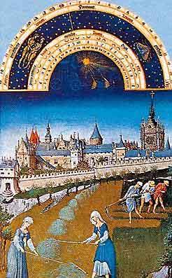 여름 건초만들기. 1409년 드 베리공이 만들게 한 그림 역서, 위의 반원은 황도 12궁과 새달의 날짜를 계절별로 표기하였다.